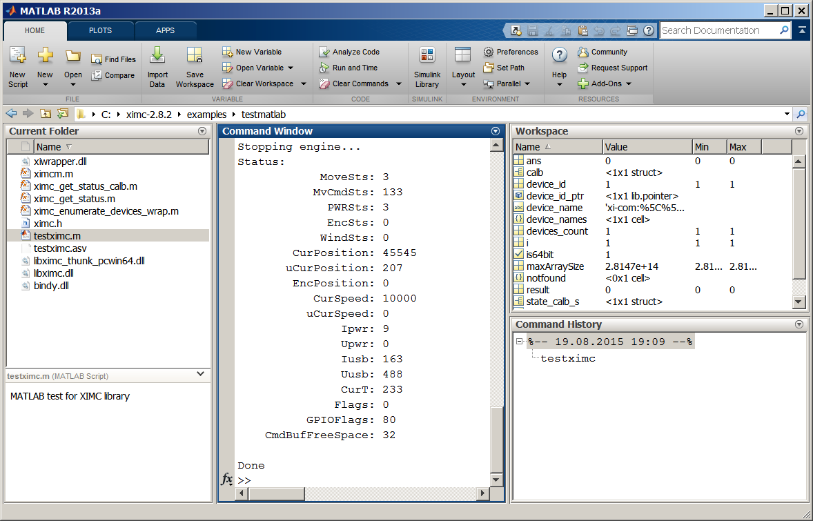6 1 2  Working with controller in Matlab — 8SMC5-USB User Manual
